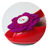felt flower shoe clip